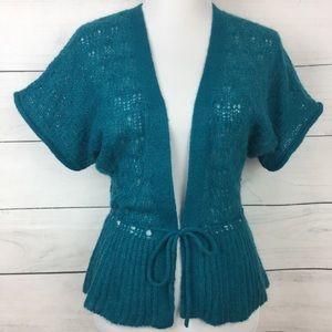 Anthropologie Lux Tie Waist Knit Cardigan in Teal